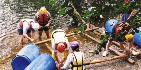 raft building, north wales